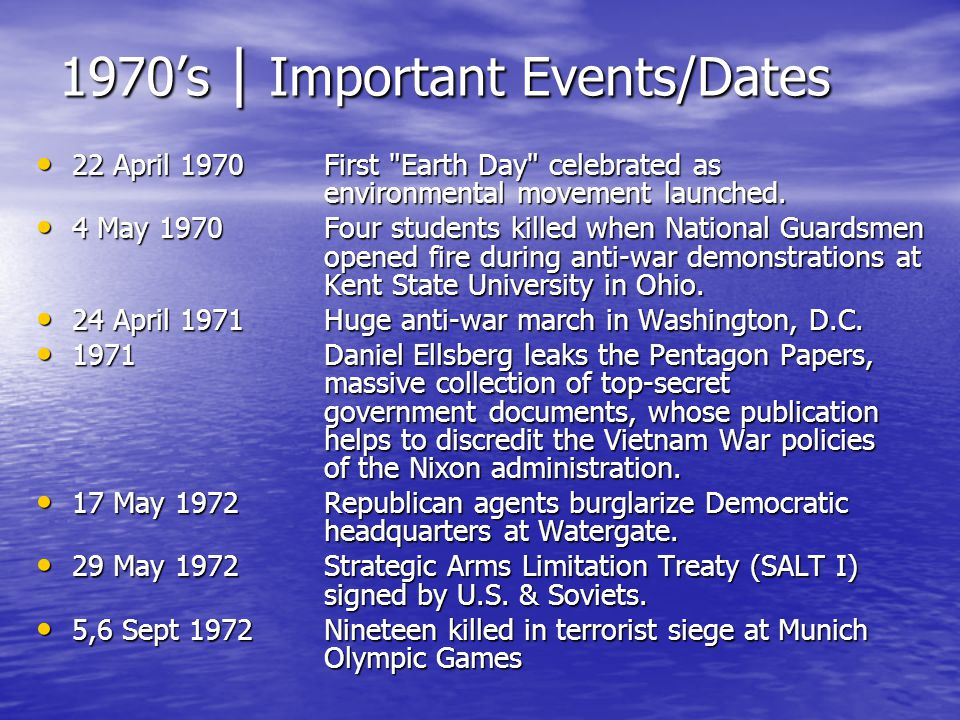 1970's | Important Events/Dates