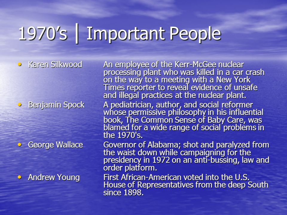 1970's | Important People