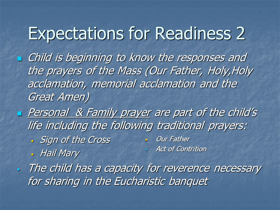 Expectations for Readiness 2