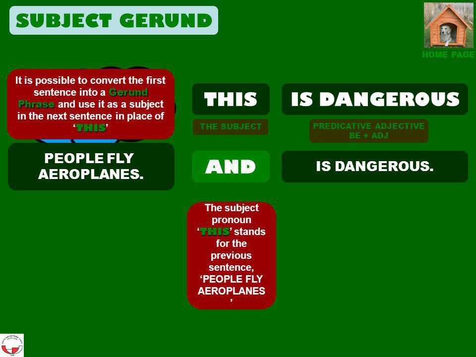 SUBJECT GERUND THIS IS DANGEROUS THIS AND PEOPLE FLY AEROPLANES.