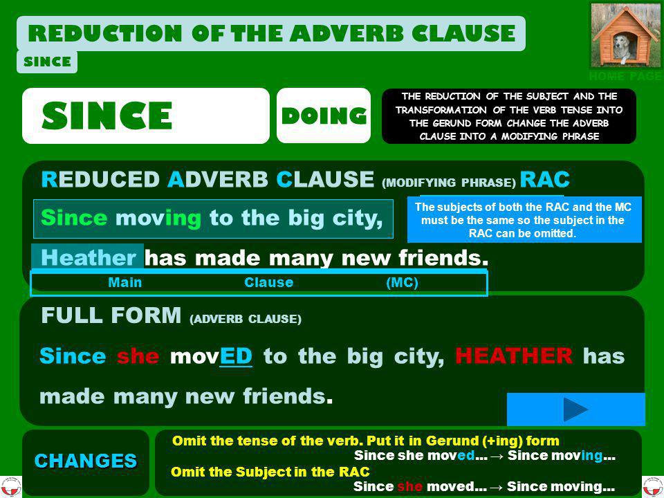 REDUCTION OF THE ADVERB CLAUSE