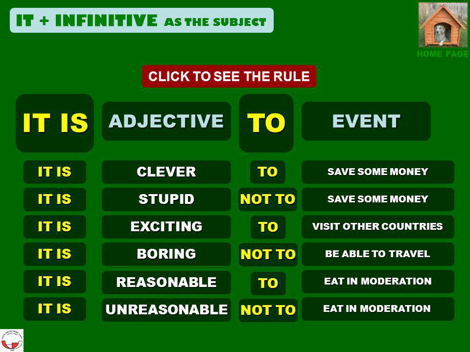 IT IS TO ADJECTIVE EVENT IT + INFINITIVE AS THE SUBJECT