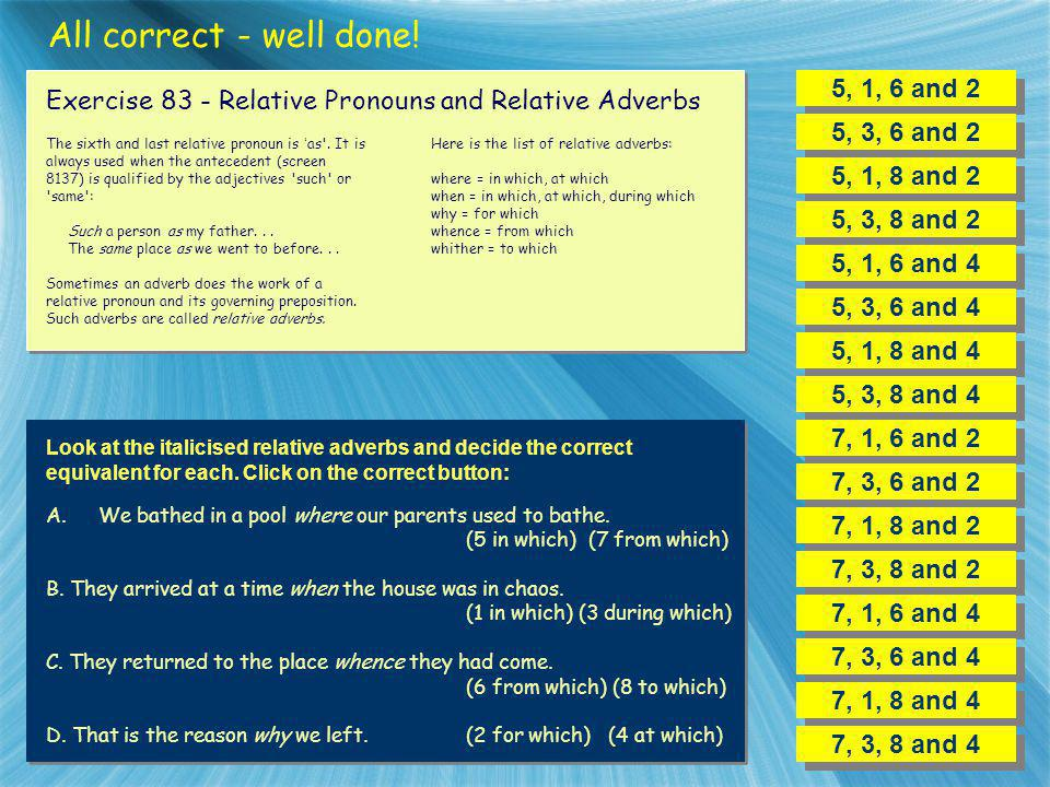 All correct - well done! 5, 1, 6 and 2