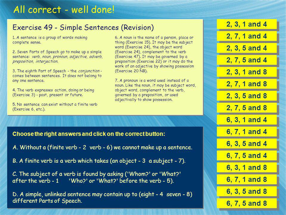 All correct - well done! 2, 3, 1 and 4