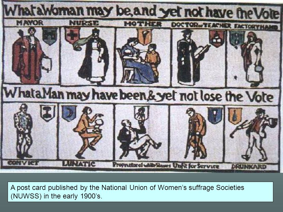 A post card published by the National Union of Women's suffrage Societies (NUWSS) in the early 1900's.