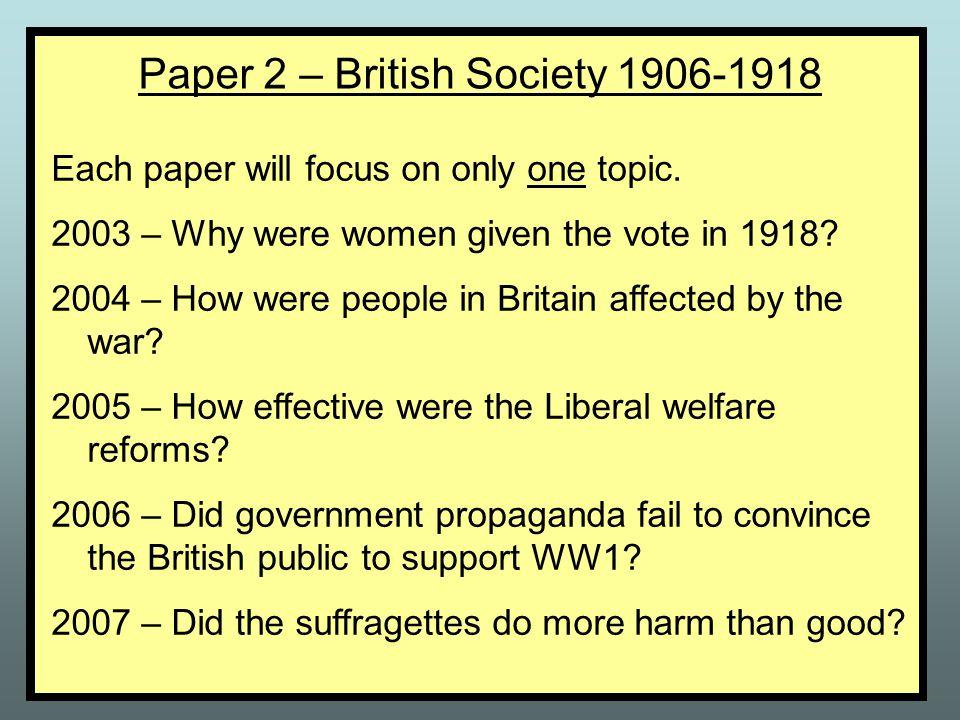 Paper 2 – British Society 1906-1918