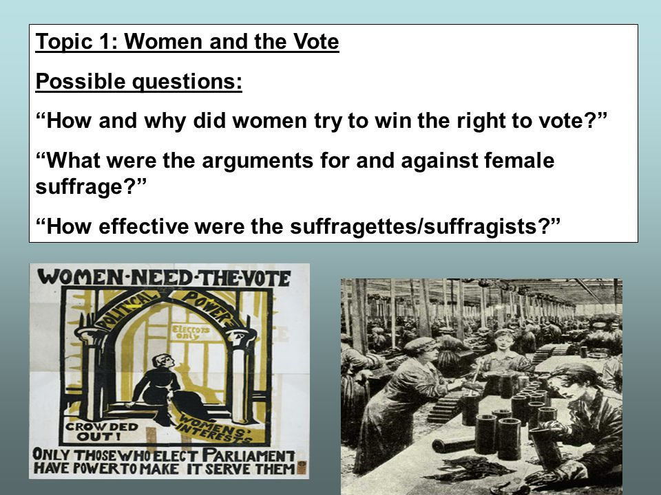 Topic 1: Women and the Vote