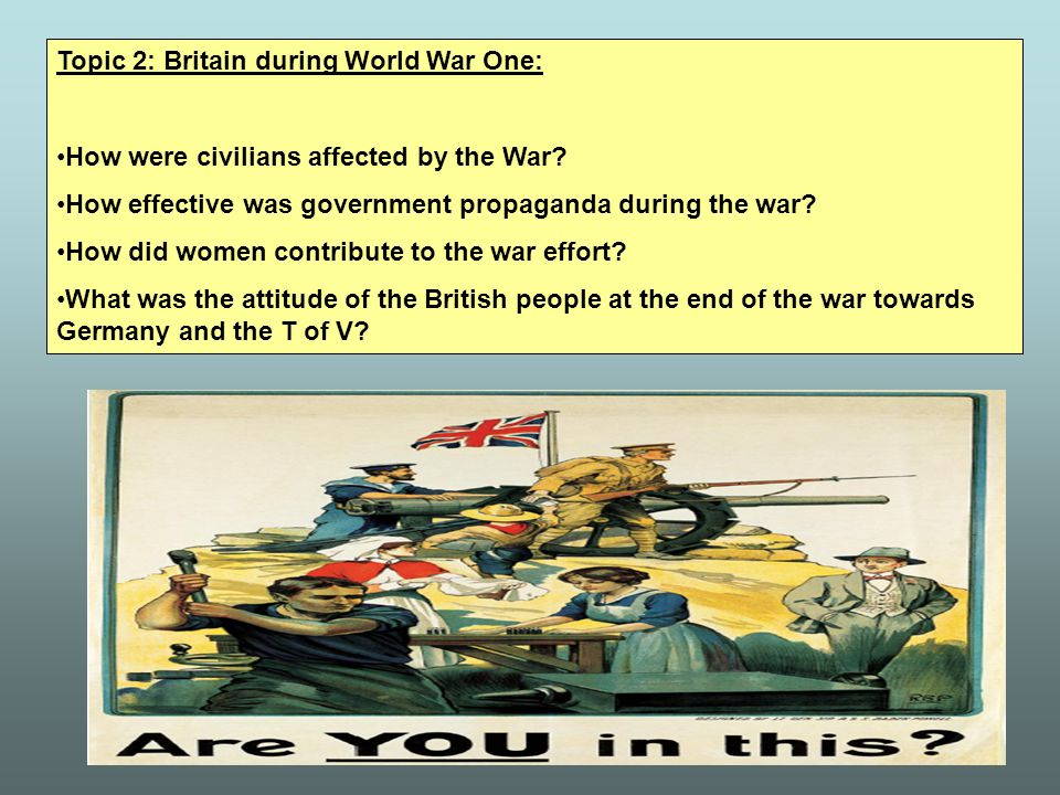 Topic 2: Britain during World War One: