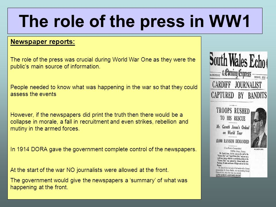 The role of the press in WW1