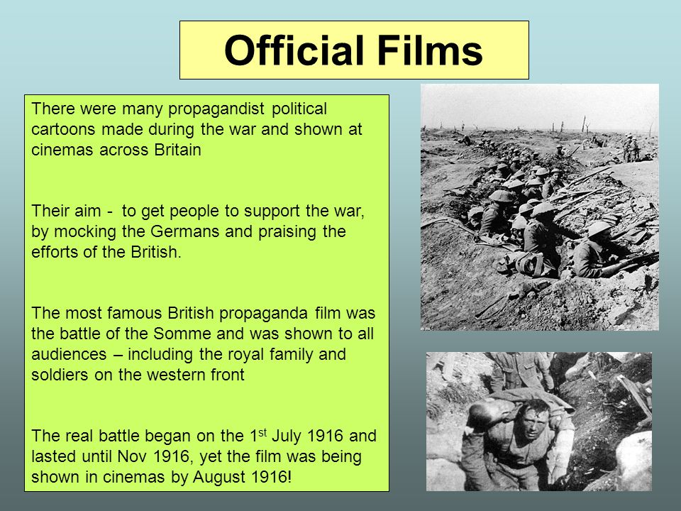 Official Films There were many propagandist political cartoons made during the war and shown at cinemas across Britain.