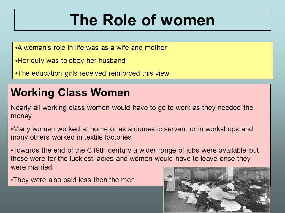 The Role of women Working Class Women
