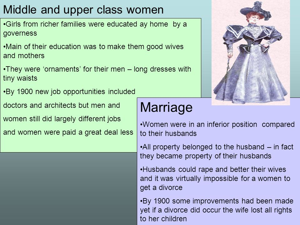 Middle and upper class women