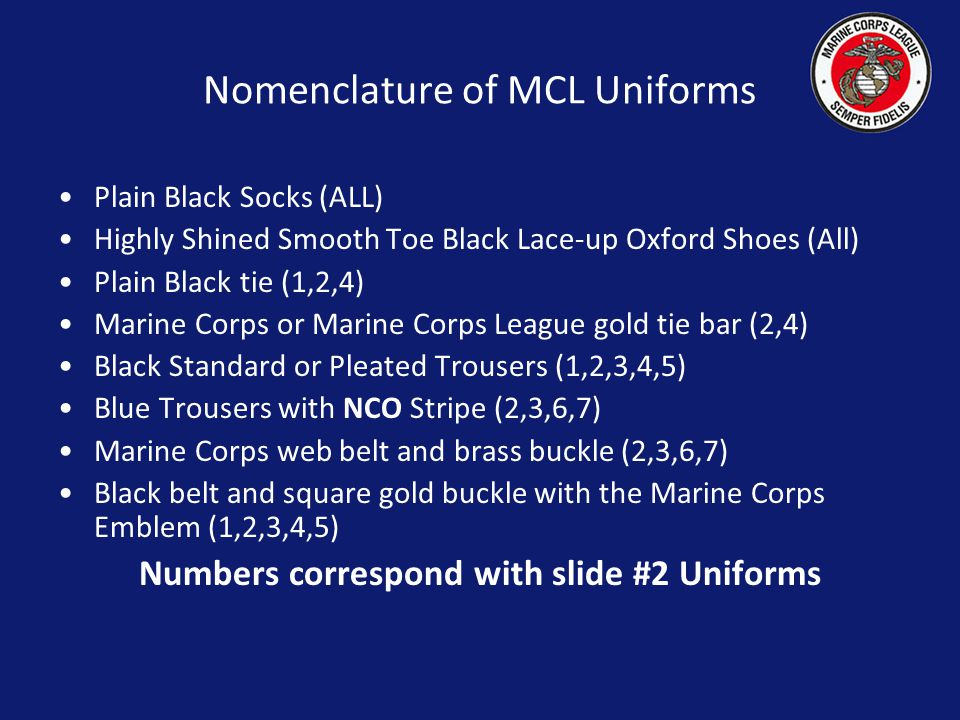 Nomenclature of MCL Uniforms