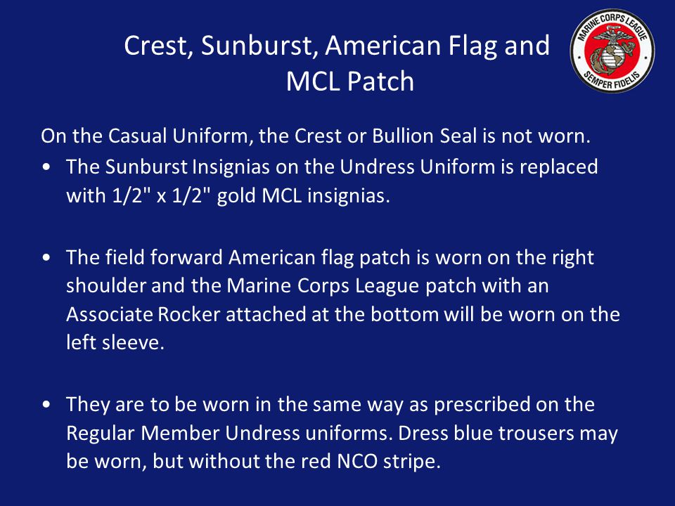 Crest, Sunburst, American Flag and MCL Patch