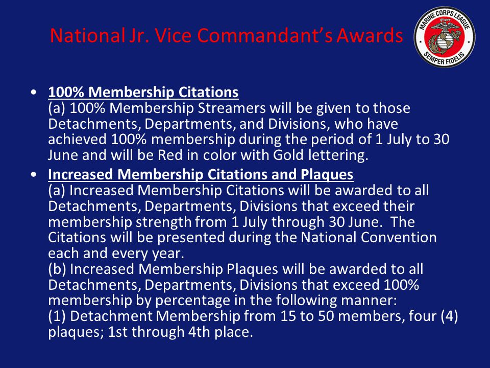 National Jr. Vice Commandant's Awards