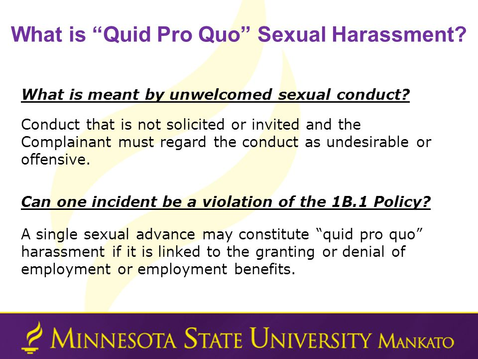 What is Quid Pro Quo Sexual Harassment