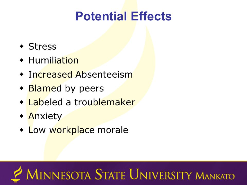 Potential Effects Stress Humiliation Increased Absenteeism