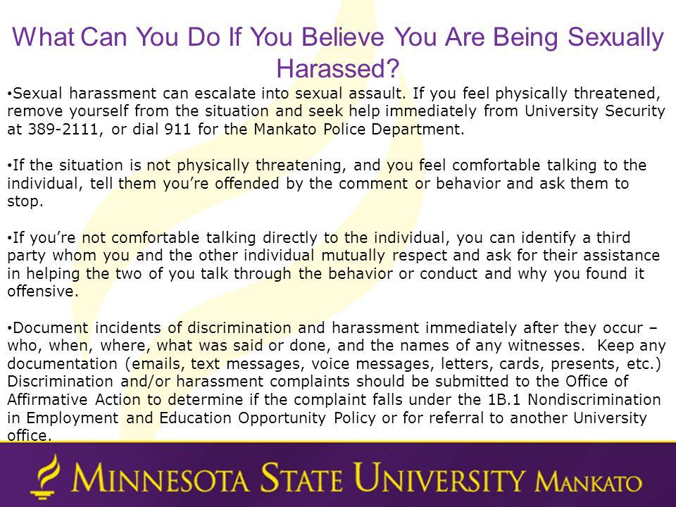 What Can You Do If You Believe You Are Being Sexually Harassed