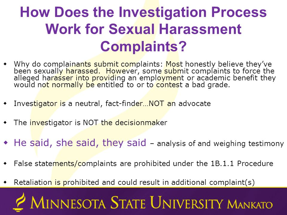 How Does the Investigation Process Work for Sexual Harassment Complaints