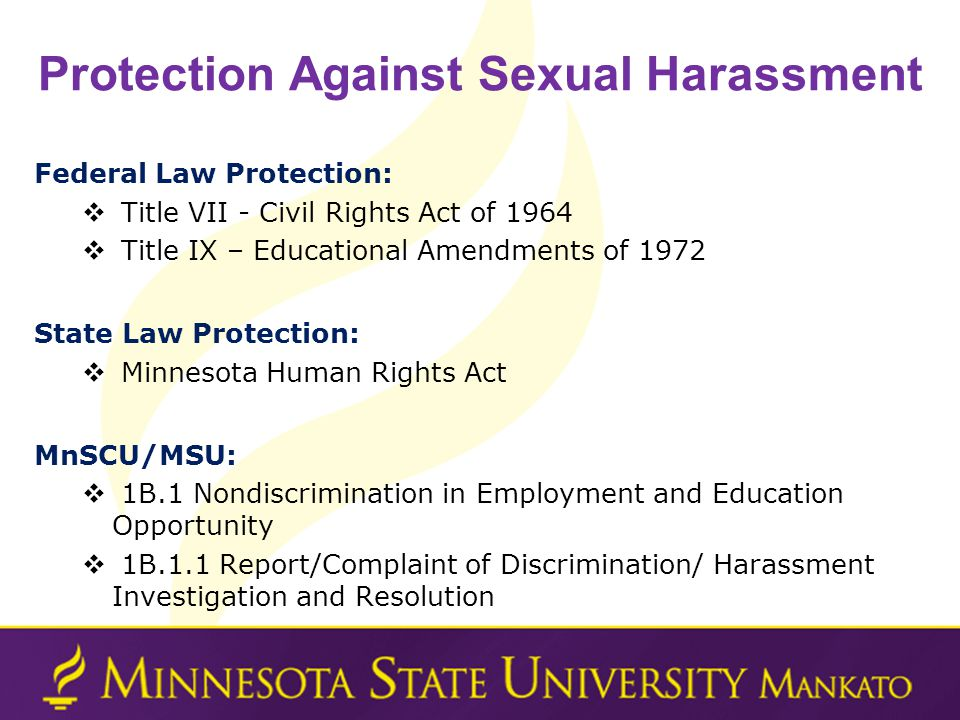 Protection Against Sexual Harassment