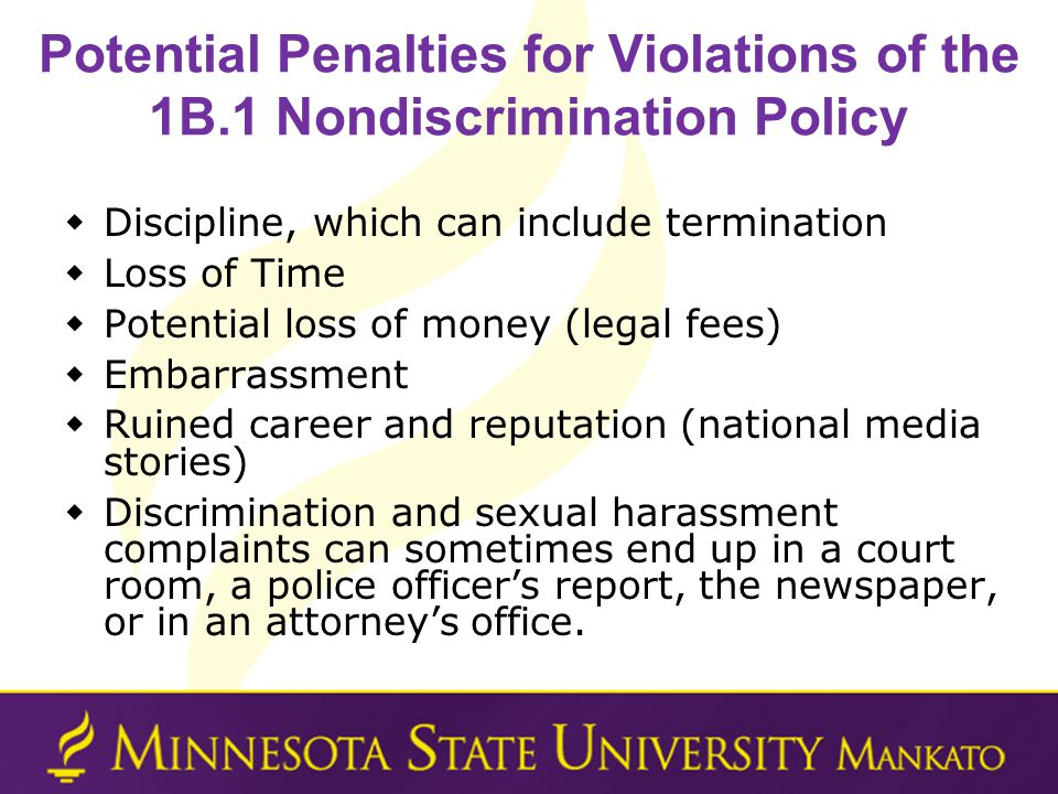 Potential Penalties for Violations of the 1B