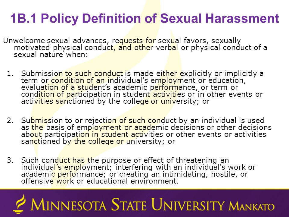 1B.1 Policy Definition of Sexual Harassment