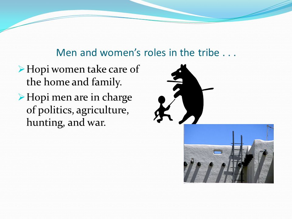 Men and women's roles in the tribe . . .