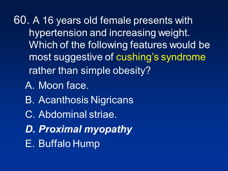 60. A 16 years old female presents with hypertension and increasing weight. Which of the following features would be most suggestive of cushing's syndrome rather than simple obesity
