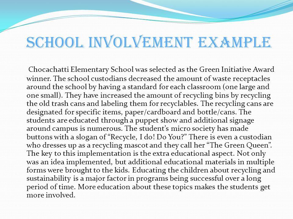 School Involvement Example