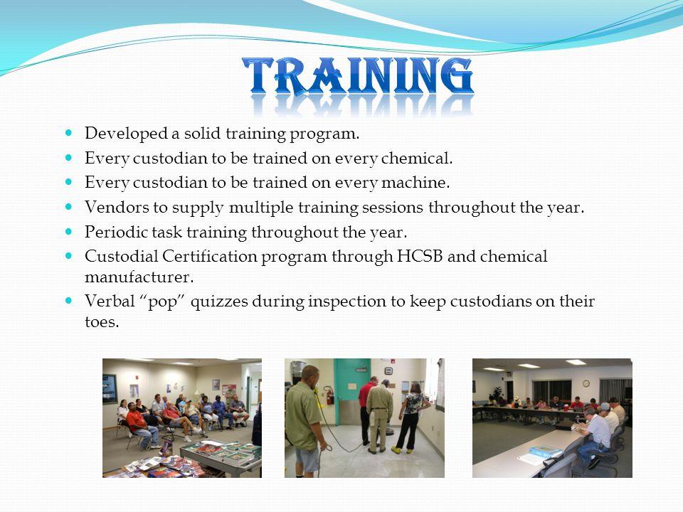 Training Developed a solid training program.