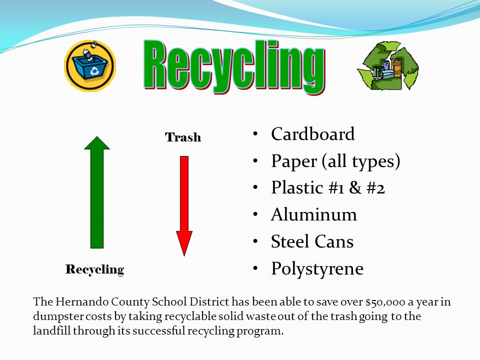 Recycling Cardboard Paper (all types) Plastic #1 & #2 Aluminum