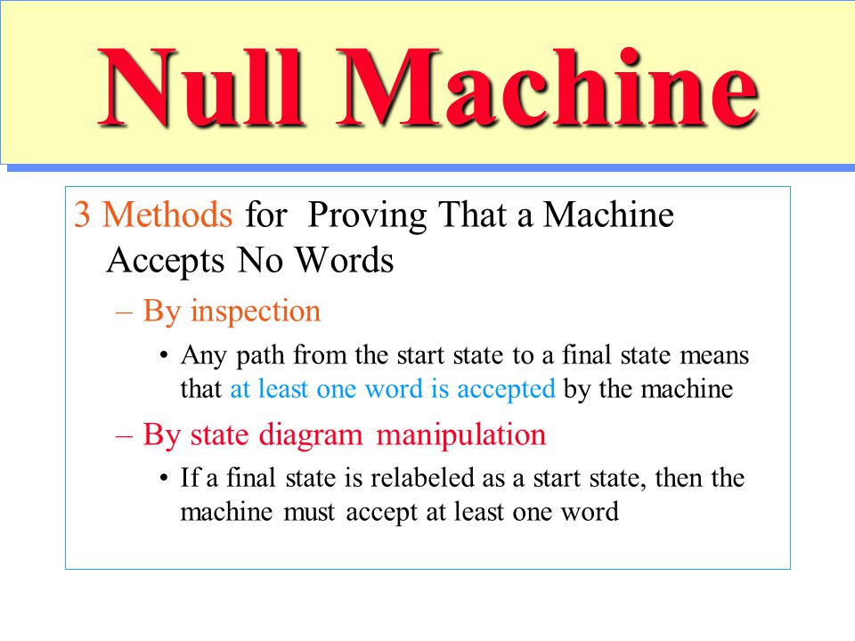 Null Machine 3 Methods for Proving That a Machine Accepts No Words