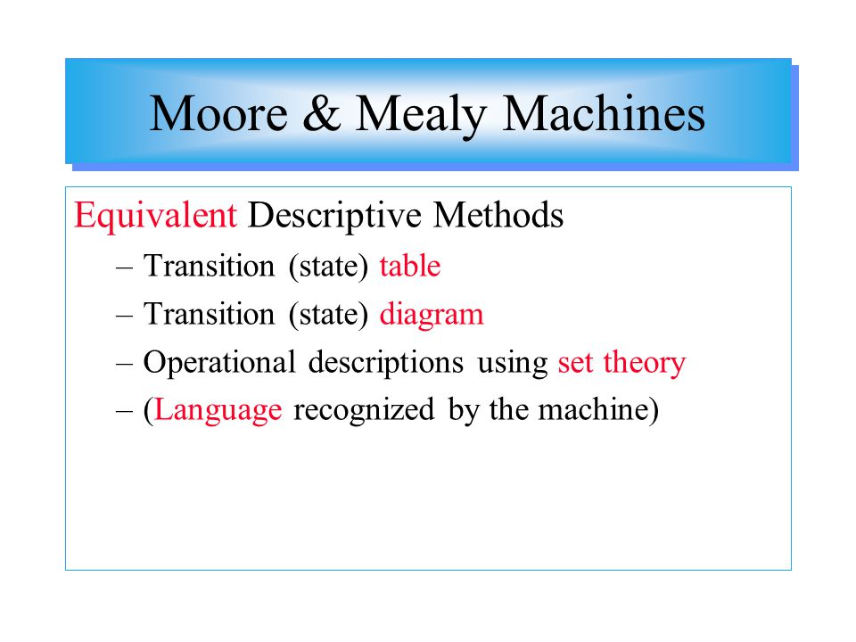 Moore & Mealy Machines Equivalent Descriptive Methods