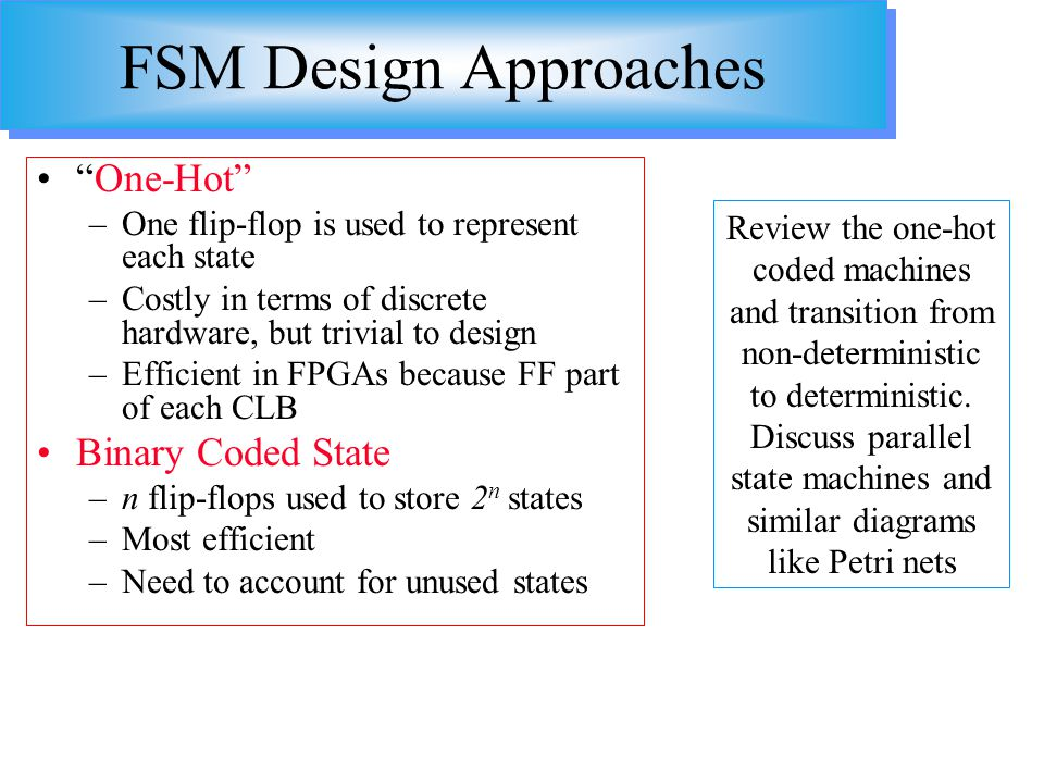FSM Design Approaches One-Hot Binary Coded State