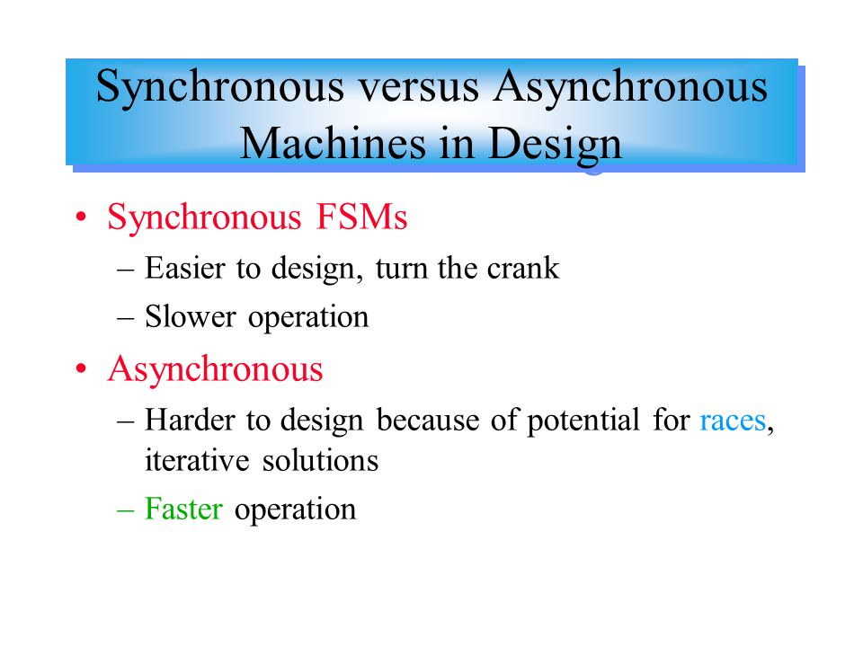 Synchronous versus Asynchronous Machines in Design