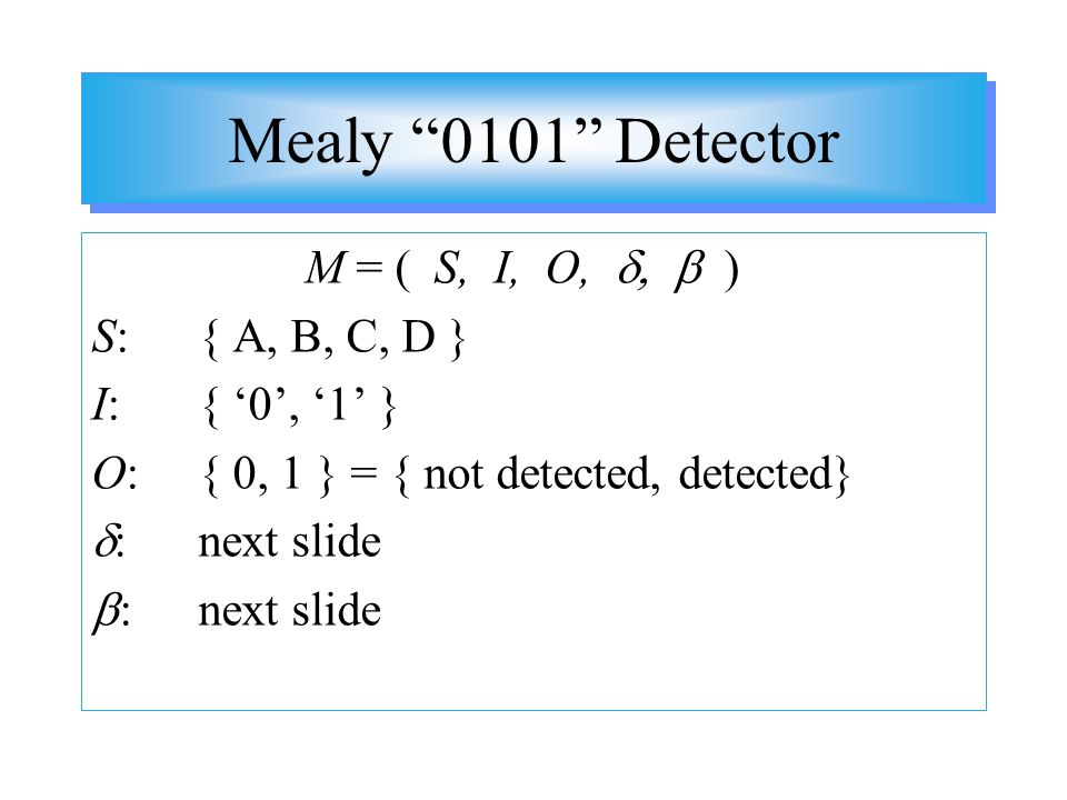 Mealy 0101 Detector M = ( S, I, O, d, b ) S: { A, B, C, D }