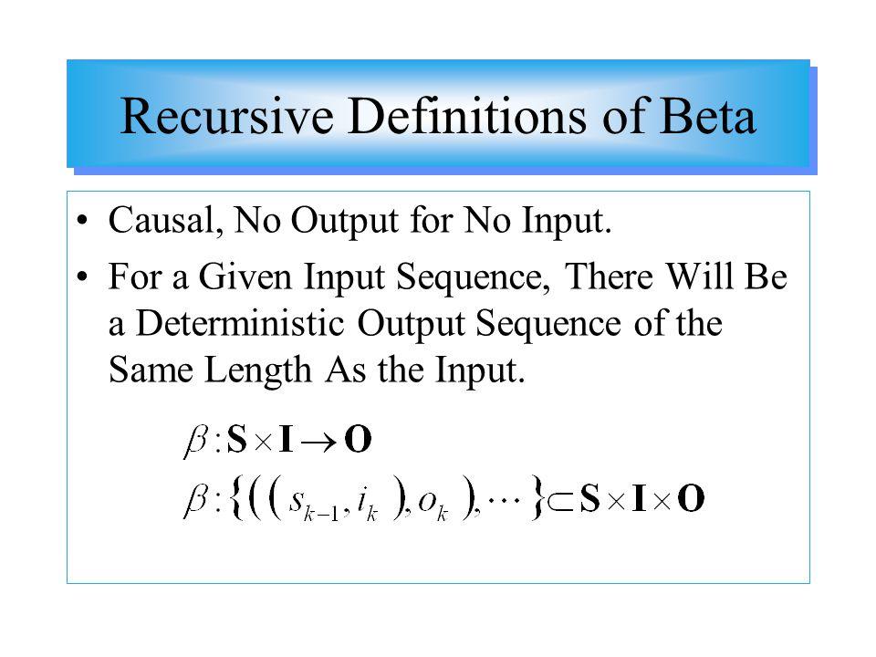Recursive Definitions of Beta