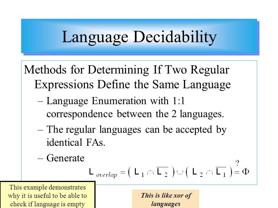 Language Decidability