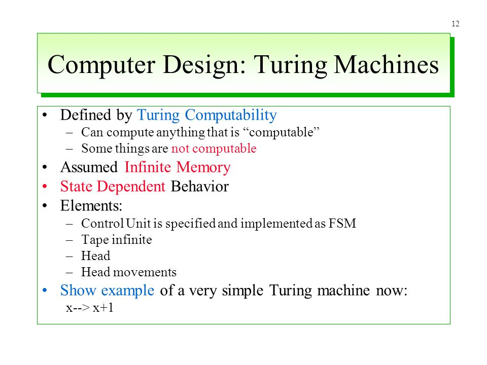 Computer Design: Turing Machines