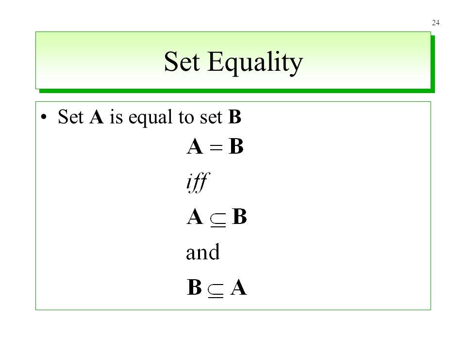 Set Equality Set A is equal to set B