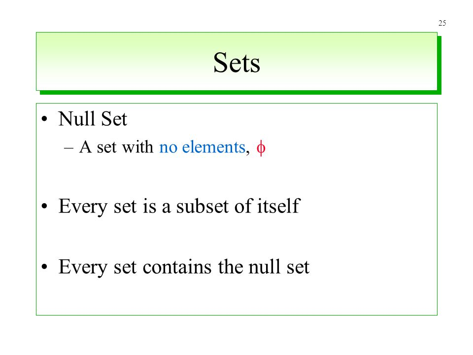 Sets Null Set Every set is a subset of itself