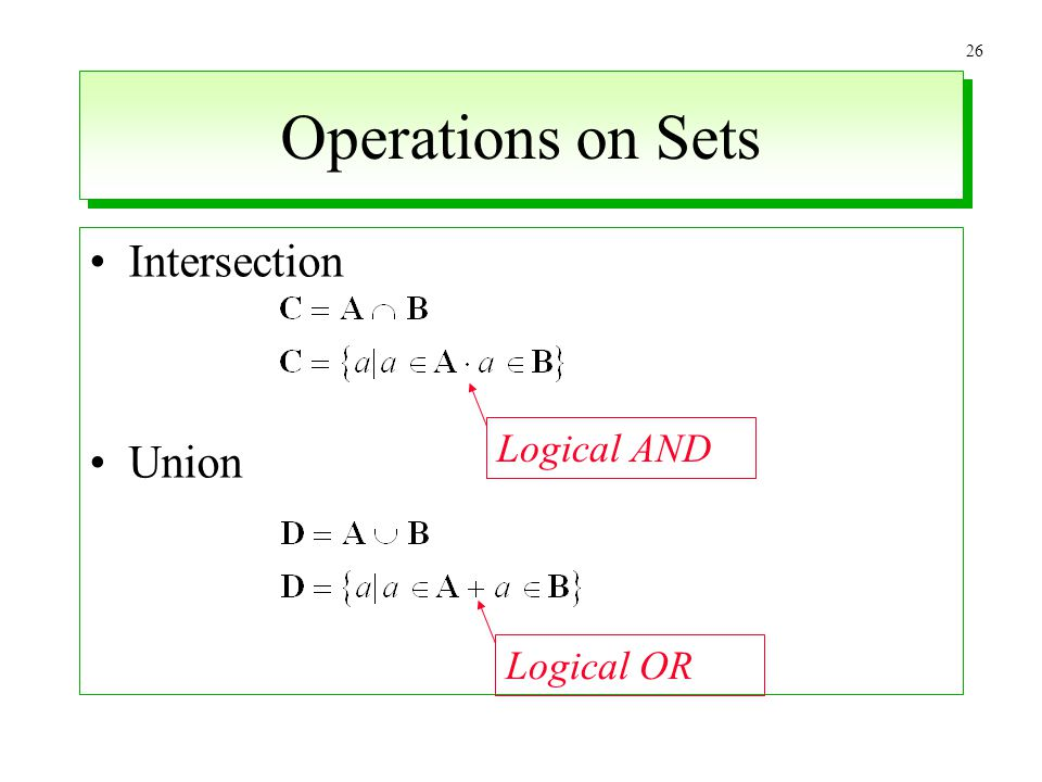Operations on Sets Intersection Union Logical AND Logical OR