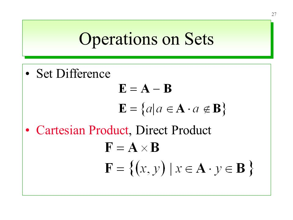 Operations on Sets Set Difference Cartesian Product, Direct Product
