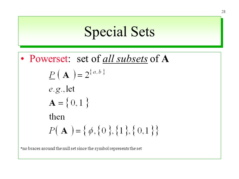Special Sets Powerset: set of all subsets of A