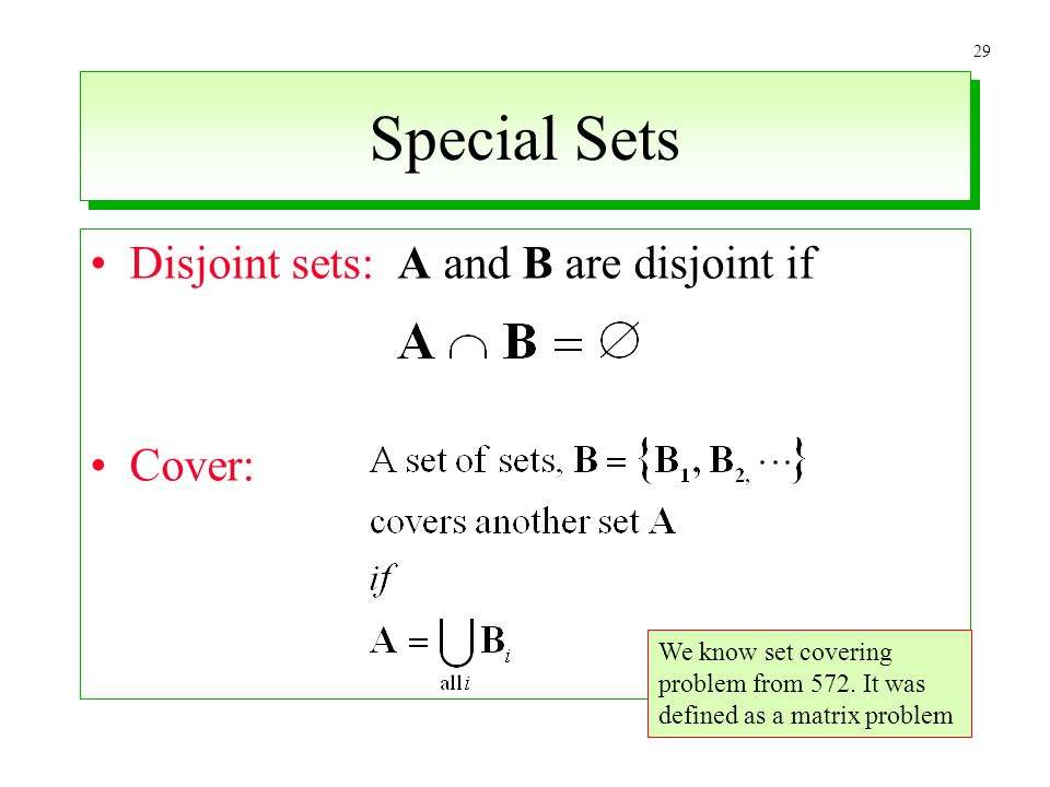 Special Sets Disjoint sets: A and B are disjoint if Cover:
