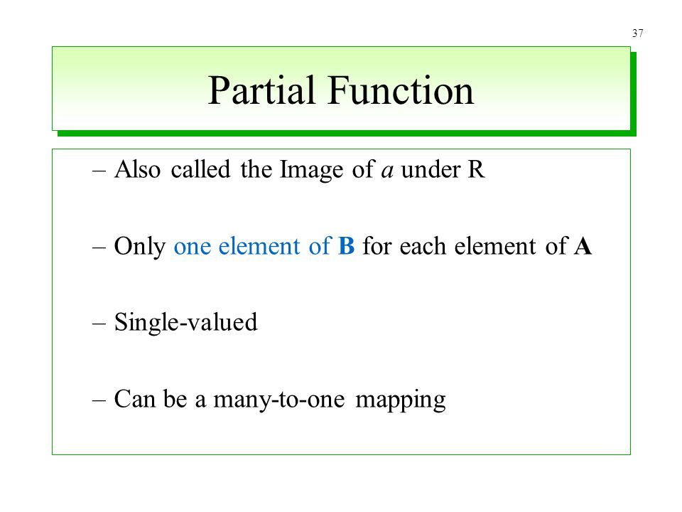 Partial Function Also called the Image of a under R