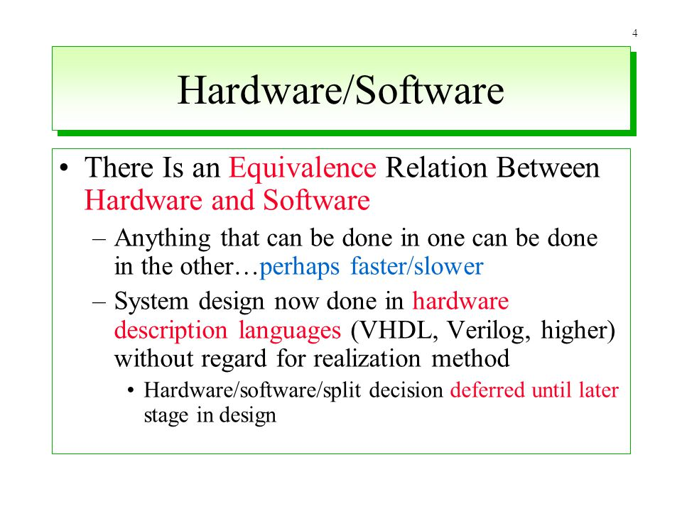 Hardware/Software There Is an Equivalence Relation Between Hardware and Software.