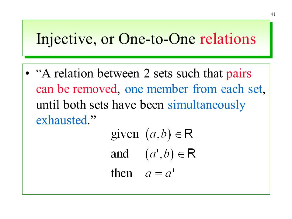 Injective, or One-to-One relations