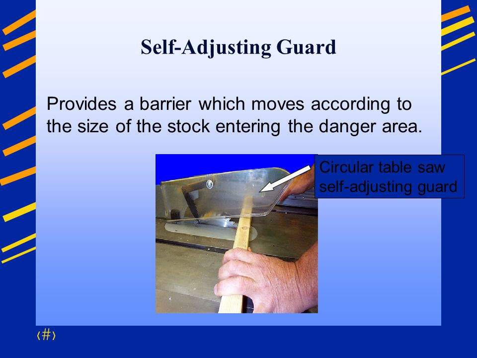 Self-Adjusting Guard Provides a barrier which moves according to the size of the stock entering the danger area.