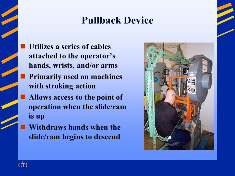 Pullback Device Utilizes a series of cables attached to the operator's hands, wrists, and/or arms. Primarily used on machines with stroking action.